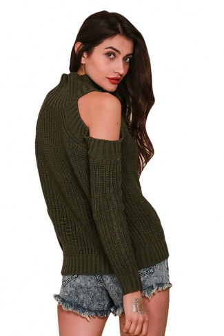 Womens Mock Neck Cold Shoulder Long Sleeve Pullover Sweater Army Green