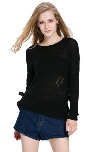 Womens Sheer Crewneck Long Sleeve Pullover Plain Sweater Black