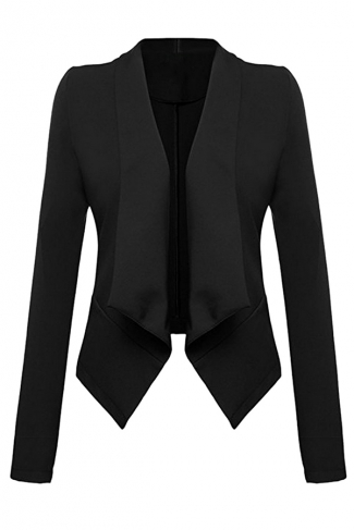 Womens Lapel Collar Long Sleeve Plain Blazer Black