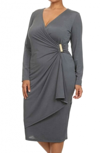 Womens Asymmetric Wrap Long Sleeve Midi Plus Size Dress Gray