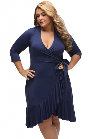 Womens Whimsy Wrap Flounce Plus Size 3/4 Length Sleeve Dress Navy Blue