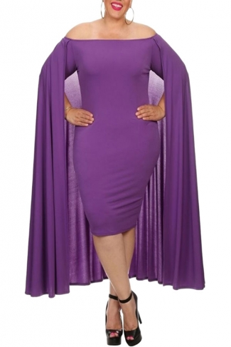 Womens Off Shoulder Plain Cape Midi Plus Size Dress Purple