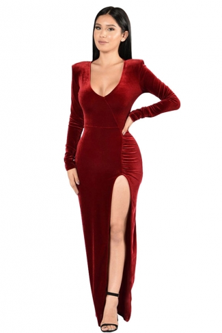 Womens Long Sleeve Side High Slit Draped Maxi Dress Ruby