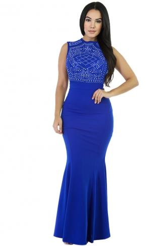 Womens Rhinestone Sleeveless Mermaid Maxi Evening Dress Blue