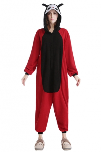 Womens Cute Coccinella Septempunctata Hooded Jumpsuit Pajamas Red