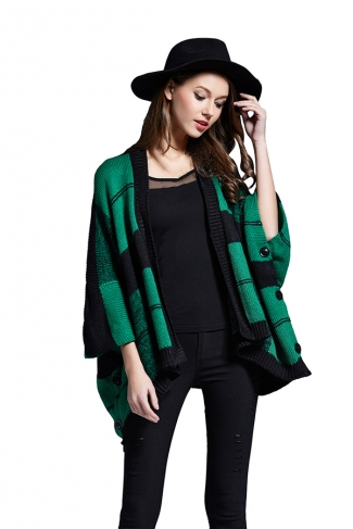 Womens Plaid 3/4 Length Batwing Sleeve Cardigan Sweater Green