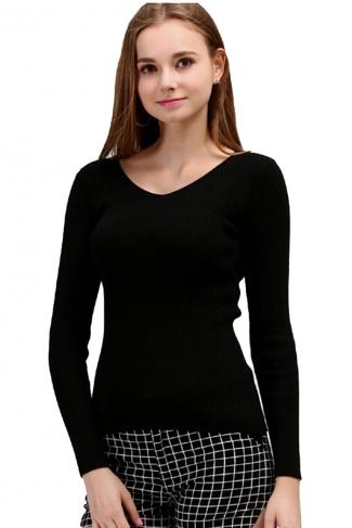 Womens V Neck Crochet Elastic Plain Pullover Sweater Black