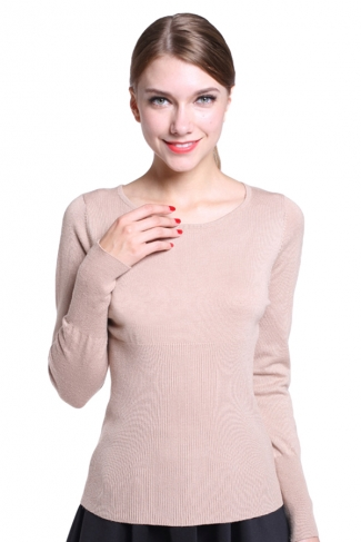Womens Simple Crewneck Long Sleeve Plain Pullover Sweater Beige