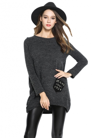Womens Loose Pocket Decor Long Sleeve Pullover Sweater Gray