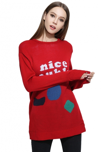 Womens Crew Neck Letter Patterned Long Sleeve Pullover Sweater Red