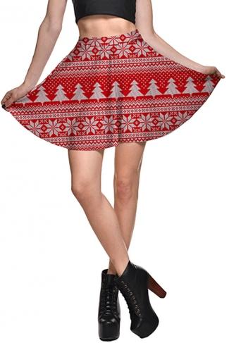 Womens High Waist Christmas Tree Printed Pleated Skirt Red