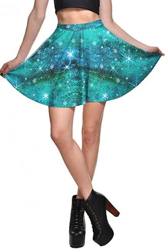 Womens High Waist Galaxy Printed Pleated Skirt Blue