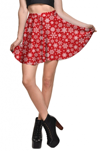 Womens Christmas Snowflake Printed High Waist Pleated Skirt Red