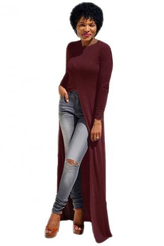 Womens Front High Slit Long Sleeve Plain Floor Length T Shirt Ruby