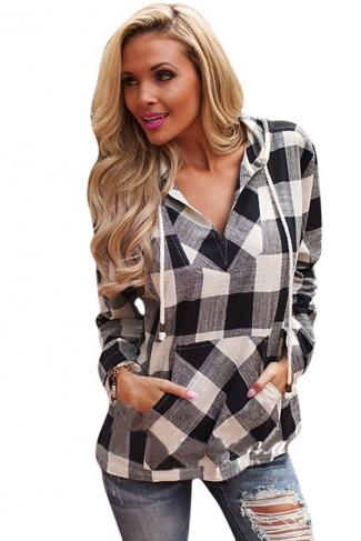 Womens Plaid Long Sleeve Pocket Drawstring Hoodie Black