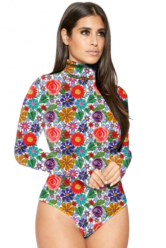 Womens Mock Neck Long Sleeve Floral Printed Bodysuit Red