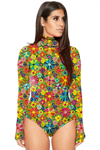 Womens Mock Neck Long Sleeve Floral Printed Bodysuit Yellow