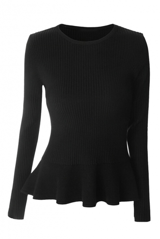 Womens Crewneck Long Sleeve Ruffled Hem Pullover Sweater Black
