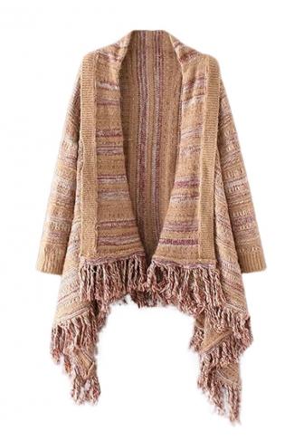 Womens Color Block Striped Fringed Long Sleeve Cardigan Sweater Khaki