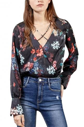 Womens Retro V-neck Floral Long Sleeve One Piece Bodysuit Black