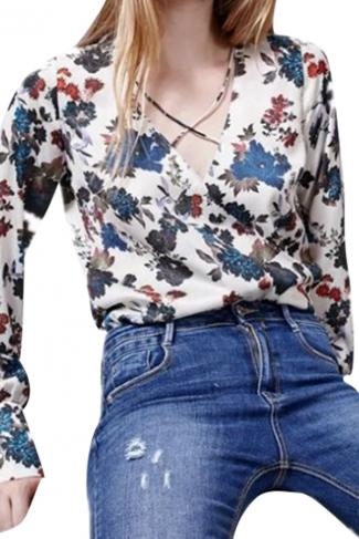 Womens Retro V Neck Floral Long Sleeve One Piece Bodysuit White
