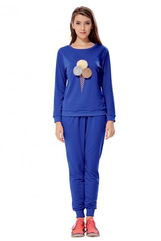 Womens Ice-scream Long Sleeve Leisure Pants Suit Sapphire Blue