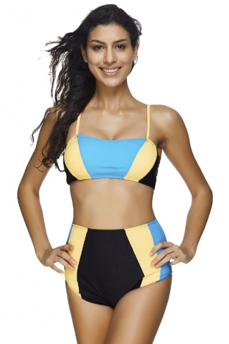 Womens Color Block Bandeau High Waist 2pcs Bikini Suit Blue