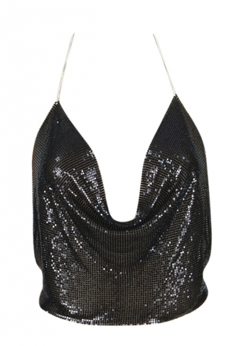 Womens Chain Halter Plunging Neck Backless Sequined Crop Top Black