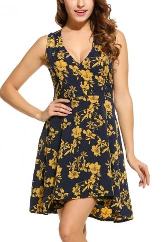 Womens V Neck Sleeveless Floral Printed Skater Dress Navy Blue