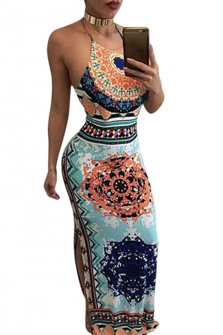 Womens Halter Printed Backless Sides Slit Maxi Dress Light Blue