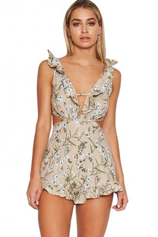Womens Ruffled Floral Printed Deep V-neck Backless Romper Khaki