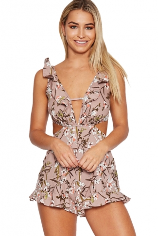 Womens Ruffled Floral Printed Deep V-neck Backless Romper Pink