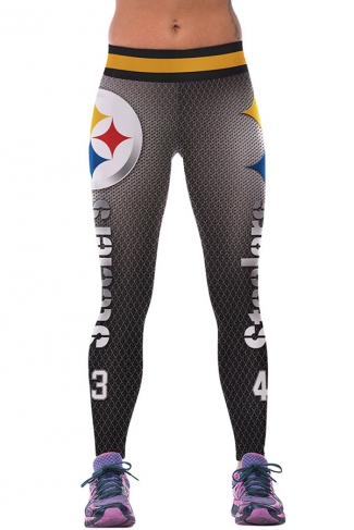 Womens Steelers Printed Ankle Length Sports Leggings Gray