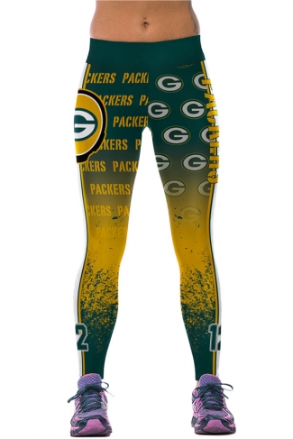 Womens PACKERS Printed Ankle Length Sports Leggings Yellow