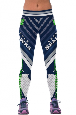 Womens SEAHAWKS Printed Ankle Length Sports Leggings Green