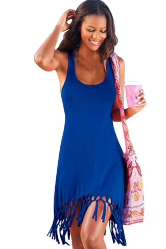 Womens Sexy Fringe Hem Waisted Tank Dress Blue