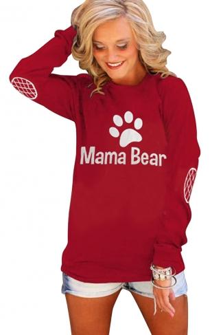 Womens Crewneck Bear Paw Printed Long Sleeve Pullover Sweatshirt Red