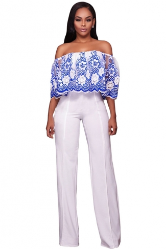 Womens Off Shoulder High Waist Embroidery Palazzo Jumpsuit Blue