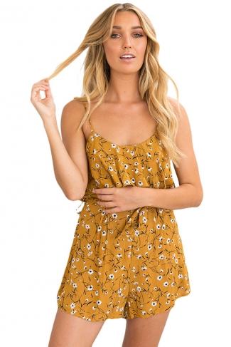 Womens Chiffon Floral Printed Ruffled Spaghetti Straps Romper Yellow