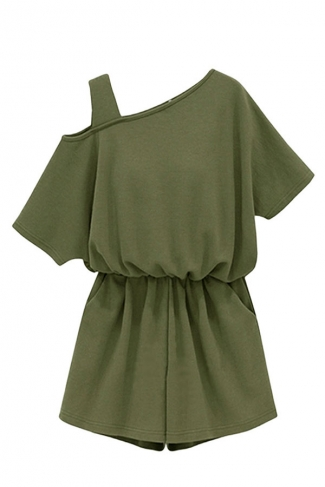 Womens Plus Size One Shoulder Elastic Waist Romper Army Green