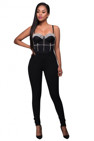 Womens Sexy Straps Nail Bead Fitting High Waist Jumpsuit Black