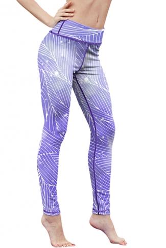 Womens High Waist Digital Printed Yoga Sports Leggings Blue