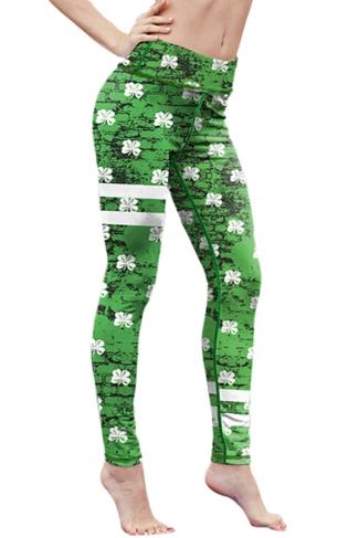 Womens High Waist Digital Printed Yoga Sports Leggings Green
