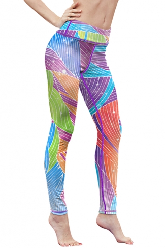 Womens High Waist Digital Printed Yoga Sports Leggings Light Blue