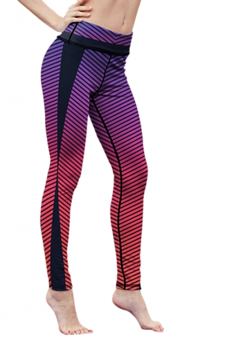 Womens High Waist Digital Printed Yoga Sports Leggings Purple