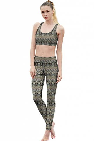 Womens Exotic Printed Racer Back Crop Top&Sports Pants Suit Turquoise