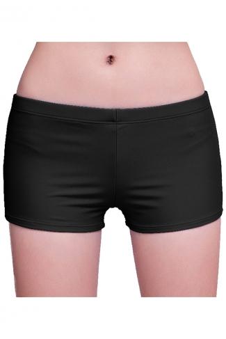 Womens Plain Sports Boy Shorts Swimsuit Bottom Black