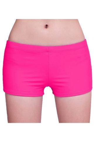 Womens Plain Sports Boy Shorts Swimsuit Bottom Rose Red