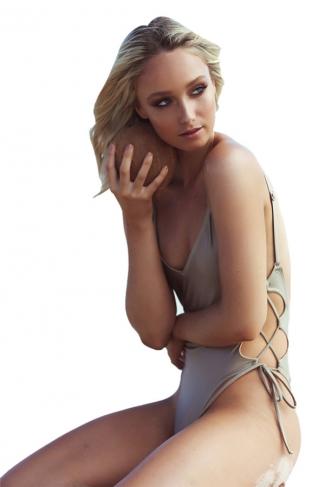 Womens Sexy V-neck Bandage Backless One Piece Swimwear Gray