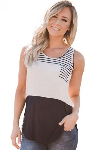 Womens Striped Patchwork Sleeveless Tank Top Black